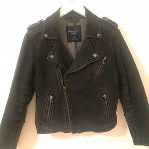 American Eagle Black Denim Moto Jacket